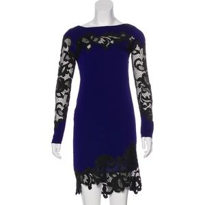 DIANE VON FURSTENBERG Silk & Lace Mini Dress